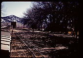 Freight cars and track. Tank in distance possibly in Durango area.<br /> D&amp;RGW  Durango area, CO