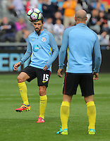 Jesus Navas of Manchester City warms up prior to the Premier League match between Swansea City and Manchester City at The Liberty Stadium in Swansea, Wales, UK. Saturday 24 September 2016