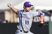 Washington Huskies pitcher Alex Nesbitt (18) delivers a pitch to the plate during the NCAA season opening baseball game against the Air Force Falcons on February 14, 2014 at Bobcat Ballpark in San Marcos, Texas. Air Force defeated Washington 14-9. (Andrew Woolley/Four Seam Images)