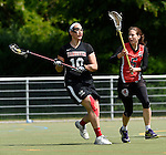 GER - Hannover, Germany, May 30: During the Women Lacrosse Playoffs 2015 match between DHC Hannover (black) and SC Frankfurt 1880 (red) on May 30, 2015 at Deutscher Hockey-Club Hannover e.V. in Hannover, Germany. Final score 23:3. (Photo by Dirk Markgraf / www.265-images.com) *** Local caption *** Bettina Wilhelm #10 of DHC Hannover, Sarah Bailly #5 of SC 1880 Frankfurt