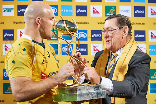 17.09.2016. Perth, Australia.  Stephen Moore of the Qantas Wallabies is presented the Puma Trophy during the Rugby Championship test match between the Australian Qantas Wallabies and Argentina's Los Pumas from NIB Stadium - Saturday 17th September 2016 in Perth, Australia.
