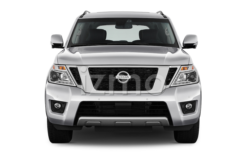 Car photography straight front view of a 2017 Nissan Armada Platinum 5 Door SUV Front View