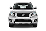 Car photography straight front view of a 2018 Nissan Armada Platinum 5 Door SUV Front View