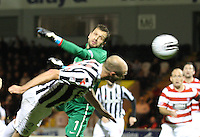 Sam Parkin diving to head with Kevin Cuthbert beaten in the St Mirren v Hamilton Academical Scottish Communities League Cup match played at St Mirren Park, Paisley on 25.9.12.