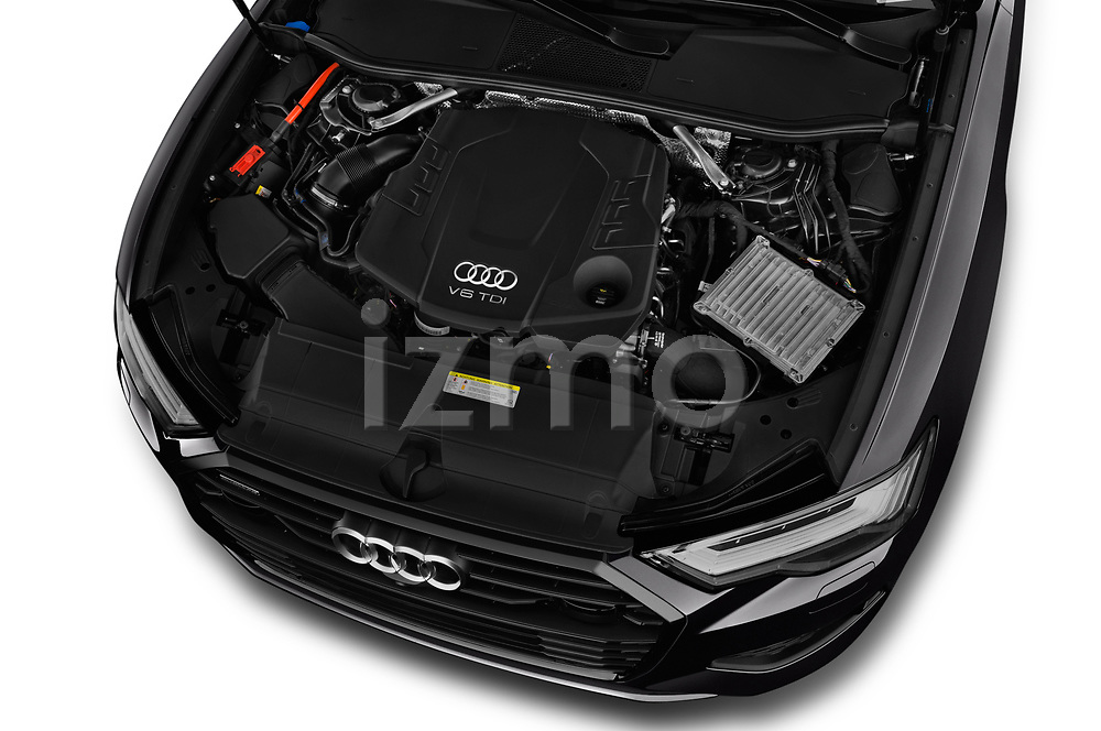 Car stock 2019 Audi A6 Avant Sport 5 Door Wagon engine high angle detail view