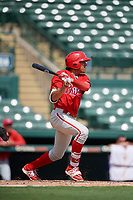 Philadelphia Phillies Jose Cedeno (16) follows through on a swing during a Florida Instructional League game against the Baltimore Orioles on October 4, 2018 at Ed Smith Stadium in Sarasota, Florida.  (Mike Janes/Four Seam Images)
