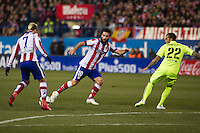 Atletico de Madrid´s Antoine Griezmann and Arda Turan and Barcelona´s Daniel Alves during 2014-15 Spanish King Cup match between Atletico de Madrid and Barcelona at Vicente Calderon stadium in Madrid, Spain. January 28, 2015. (ALTERPHOTOS/Luis Fernandez) /nortephoto.com<br />