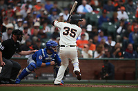 SAN FRANCISCO, CA - AUGUST 9:  Brandon Crawford #35 of the San Francisco Giants bats against the Chicago Cubs during the game at AT&T Park on Wednesday, August 9, 2017 in San Francisco, California. (Photo by Brad Mangin)