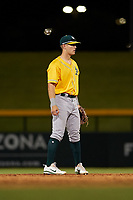 AZL Athletics Gold shortstop Marty Bechina (7) during an Arizona League game against the AZL Cubs 1 at Sloan Park on June 20, 2019 in Mesa, Arizona. AZL Athletics Gold defeated AZL Cubs 1 21-3. (Zachary Lucy/Four Seam Images)