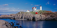 "York County, ME:  Cape Neddick (""Nubble"") Light Station (1879) under scattered clouds"