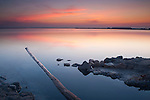 Sunrise at sea salt marsh, Salt industry. Santa Pola. Alicante. Spain
