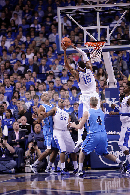 Freshman Forward Willie Cauley-Stein pulls down a rebound during the first half of the University of Kentucky vs. Northwood Basketball exhibition game at Rupp Arean in Lexington, Ky., on, {November} {1}, {2012}. Photo by Jared Glover | Staff