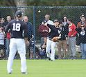 (F-B) Hiroki Kuroda, Masahiro Tanaka (Yankees),<br /> FEBRUARY 15, 2014 - MLB :<br /> Masahiro Tanaka of the New York Yankees plays catch with teammate Hiroki Kuroda during the New York Yankees spring training camp in Tampa, Florida, United States. (Photo by AFLO)