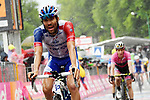 Thibaut Pinot (FRA) Groupama-FDJ crosses the finish line at the end of a very wet Stage 8 of the 2018 Giro d'Italia, running 209km from Praia a Mare to Montevergine di Mercogliano, Italy. 12th May 2018.<br /> Picture: LaPresse/Gian Mattia D'Alberto | Cyclefile<br /> <br /> <br /> All photos usage must carry mandatory copyright credit (&copy; Cyclefile | LaPresse/Gian Mattia D'Alberto)