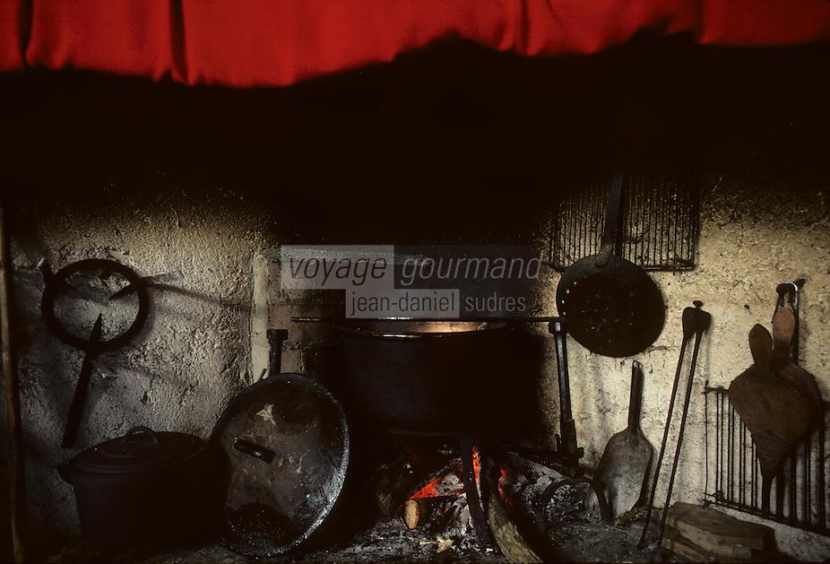 Europe/France/Midi-Pyrénées/09/Ariège/Pays de Foix/Serres-sur-Arget : Foyer de cheminée réparation du boudin ariégeois dans une  ferme<br /> PHOTO D'ARCHIVES // ARCHIVAL IMAGES<br /> FRANCE 1980