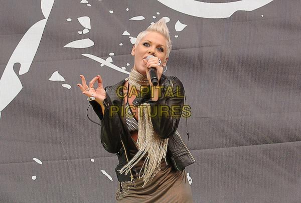 PINK.Performing live at the 2007 V Festival, Hylands Park, Chelmsford, England..August 18th 2007..half 3/4 length stage concert live gig performance music pinnk black leather jacket gold scarf grey gray dress hand  singing microphone gold scarf bra bikini top.CAP/BEL.©Belcher/Capital Pictures