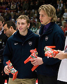 Patrick Kane (Buffalo, New York - London Knights) and Erik Johnson (Bloomington, Minnesota - University of Minnesota) were named Media All-Stars. Team Canada (gold), Team Russia (silver) and Team USA line up for the individual awards and team medal presentations following Team Canada's 4-2 victory over Team Russia to win the gold in the 2007 World Championship on Friday, January 5, 2007 at Ejendals Arena in Leksand, Sweden.