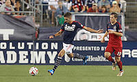 Foxborough, Massachusetts - July 12, 2014: In a Major League Soccer (MLS) match, Chicago Fire (red) defeated the New England Revolution (blue/white) 1-0 at Gillette Stadium.