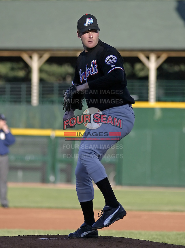 May 28, 2004:  Pitcher Jeremy Griffiths of the Norfolk Tides, Triple-A International League affiliate of the New York Mets, during a game at Frontier Field in Rochester, NY.  Photo by:  Mike Janes/Four Seam Images