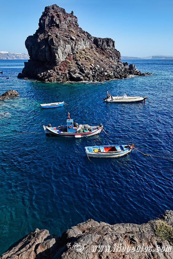 A small island near Amoudi bay in Santorini, Greece