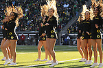 Nov 21, 2015; Eugene, OR, USA; Oregon Ducks' cheerleaders perform during a timeout at Autzen Stadium. <br /> Photo by Jaime Valdez