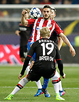 Atletico de Madrid's Koke Resurrecccion (f) and Bayer 04 Leverkusen's Julian Brandt during Champions League 2016/2017 Round of 16 2nd leg match. March 15,2017. (ALTERPHOTOS/Acero)