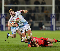 7th February 2020; AJ Bell Stadium, Salford, Lancashire, England; Premiership Cup Rugby, Sale Sharks versus Saracens;  Dan du Preez of Sale Sharks is tackled by Alex Day of Saracens