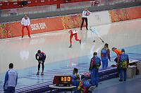 OLYMPICS: SOCHI: Adler Arena, 09-02-2014, 3000 m Ladies, Natalia Czerwonka (POL), Jelena Peeters (BEL), ©foto Martin de Jong