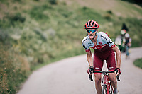 Ian Boswell (USA/Katusha Alpecin) trying a solo attack with about 6km to go<br /> <br /> Stage 6: Frontenex &gt; La Rosi&egrave;re Espace San Bernardo (110km)<br /> 70th Crit&eacute;rium du Dauphin&eacute; 2018 (2.UWT)