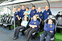 SWANSEA....<br /> WITH STORY....PREMIER LEAGUE READING STARS EVENT....<br /> THURSDAY 25th SEPTEMBER 2014<br /> Dylan Thomas School pupils pictured during the Premier League Reading Stars event at the Liberty Stadium