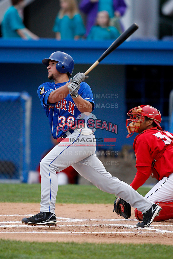 August 28, 2009:  Sean Ochinko (38) of the Auburn Doubledays during a game at Dwyer Stadium in Batavia, NY.  Auburn is the Short-Season Class-A affiliate of the Toronto Blue Jays.  Photo By Mike Janes/Four Seam Images