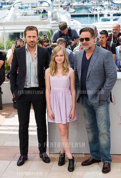 Ryan Gosling, Russell Crowe, Angourie Rice   attends 'The Nice Guys' photocall  at the 69th Festival de Cannes.<br /> May 15, 2016  Cannes, France<br /> Picture: Kristina Afanasyeva / Featureflash