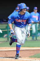 Florida Gators catcher Mike Zunino #3 runs to first during a game against the Tennessee Volunteers at Lindsey Nelson Stadium, Knoxville, Tennessee April 14, 2012. The Volunteers won the game 5-4  (Tony Farlow/Four Seam Images)..