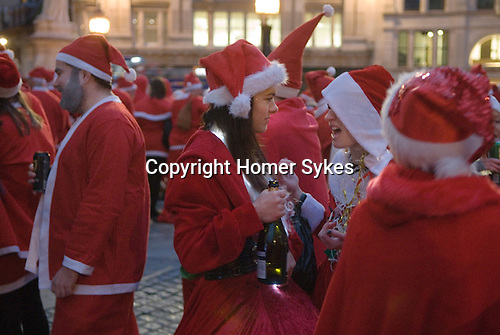 SantaCon meet up outside St Pauls Cathedral London UK 2015.