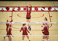 STANFORD, CA - November 2, 2018: Kate Formico, Jenna Gray, Holly Campbell, Meghan McClure, Kathryn Plummer, Morgan Hentz at Maples Pavilion. No. 1 Stanford Cardinal defeated No. 15 Colorado Buffaloes 3-2.