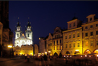 Prague, Praha, Czech Republic, Central Bohemia, Tyn Church in Old Town Square in the city of Prague in the evening.
