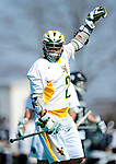 3 April 2010: University of Vermont Catamounts' Attacker Derek Lichtfuss, a Junior from Lutherville, MD, in action against the Binghamton University Bearcats at Moulton Winder Field in Burlington, Vermont. The Catamounts defeated the visiting Bearcats 11-8 in Vermont's opening home game of the 2010 season. Mandatory Credit: Ed Wolfstein Photo