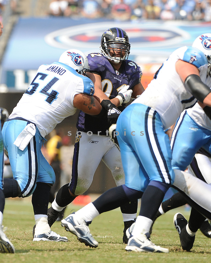 HALOTI NGATA, of the Baltimore Ravens, in action, during the Ravens game against the Tennessee Titans on September 18, 2011 at LP Field in Nashville, TN. The Titans beat the Ravens 26-13.