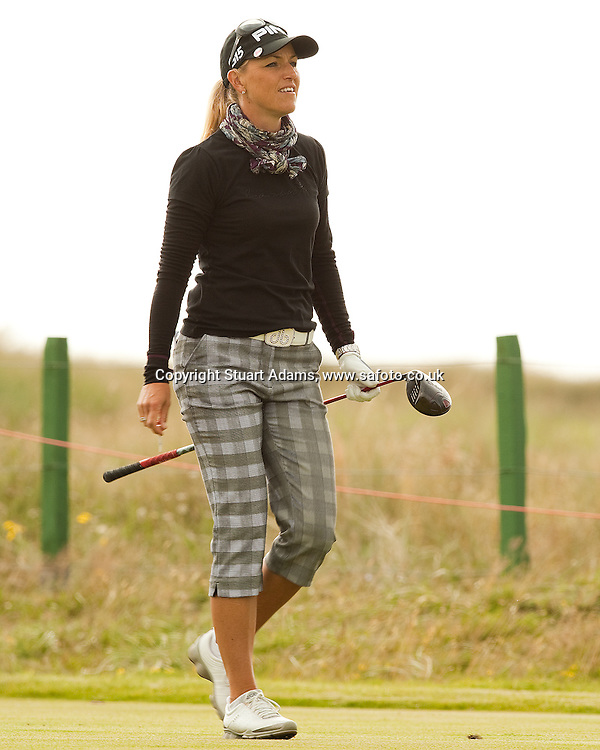 Sweden's Carin Koch strides off the 6th tee during the first round play of the  Ricoh Woman's British Open to be played over the Championship Links from 28th to 31st July 2011; Picture Stuart Adams, SAFOTO. www.safoto.co.uk; 28th July 2011