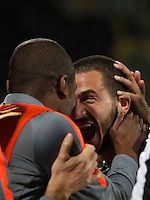 Calcio, Coppa Italia: semifinale di ritorno Fiorentina vs Juventus. Firenze, stadio Artemio Franchi, 7 aprile 2015. <br /> Juventus' Leonardo Bonucci, right, celebrates with teammates at the end of the Italian Cup semifinal second leg football match between Fiorentina and Juventus at Florence's Artemio Franchi stadium, 7 April 2015. Juventus won 3-0 to join the final.<br /> UPDATE IMAGES PRESS/Isabella Bonotto