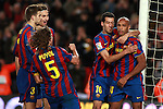 Football Season 2009-2010. Barcelona's player Zlatan Ibrahimovic carles puyol, sergioo busquets gerard pique and thierry henry celebrating a goal during the Spanish first division soccer match at Camp Nou stadium in Barcelona November 07, 2009.