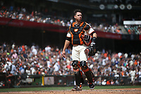 SAN FRANCISCO, CA - APRIL 27:  Buster Posey #28 of the San Francisco Giants stands on the field during the game against the New York Yankees at Oracle Park on Saturday, April 27, 2019 in San Francisco, California. (Photo by Brad Mangin)