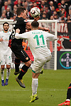 17.03.2019, BayArena, Leverkusen, GER, 1. FBL, Bayer 04 Leverkusen vs. SV Werder Bremen,<br />  <br /> DFL regulations prohibit any use of photographs as image sequences and/or quasi-video<br /> <br /> im Bild / picture shows: <br /> Milot Rashica (Werder Bremen #11), im Zweikampf gegen  Julian Baumgartlinger (Leverkusen #15), <br /> <br /> Foto © nordphoto / Meuter