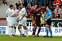 12/08/2006        Copyright Pic: James Stewart.File Name : sct_jspa19_motherwell_v_aberdeen.MOTHERWELL PLAYERS COMPLAIN TO REFEREE STEVEN CONROY AS DARREN MACKIE CELEBRATES SCORING ABERDEEN'S SECOND.......Payments to :.James Stewart Photo Agency 19 Carronlea Drive, Falkirk. FK2 8DN      Vat Reg No. 607 6932 25.Office     : +44 (0)1324 570906     .Mobile   : +44 (0)7721 416997.Fax         : +44 (0)1324 570906.E-mail  :  jim@jspa.co.uk.If you require further information then contact Jim Stewart on any of the numbers above.........