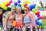 The Sports Therapy First Year students end of year Colour Fun Day 5km Run in Aid of  'Tralee No Name Youth Club', a local charity for young people which provides an alternative to pub culture for young people in Ireland. Pictured Simone Golden, Melanie Clancy and Mioa Khuwniova