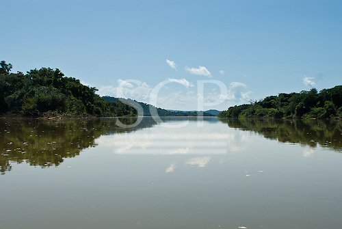 Pará State, Brazil. Xingu River. Narrow channel beside a large island.