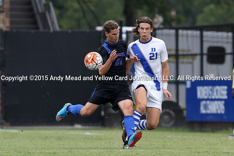 30 August 2015: Duke's Markus Fjortoft (NOR) (right) and DePaul's Jake Scheper (left). The Duke University Blue Devils hosted the DePaul University Blue Demons at Koskinen Stadium in Durham, NC in a 2015 NCAA Division I Men's Soccer match.
