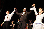 Curtain call on Opening Night with Jeremy Hays,  Norm Lewis (All My Children) and Sierra Boggess and cast who are starring in Phantom of the Opera as the first black Phantom starting on May 12 on Broadway at the Majestic Theatre, New York City, New York  (Photo by Sue Coflin/Max Photos)