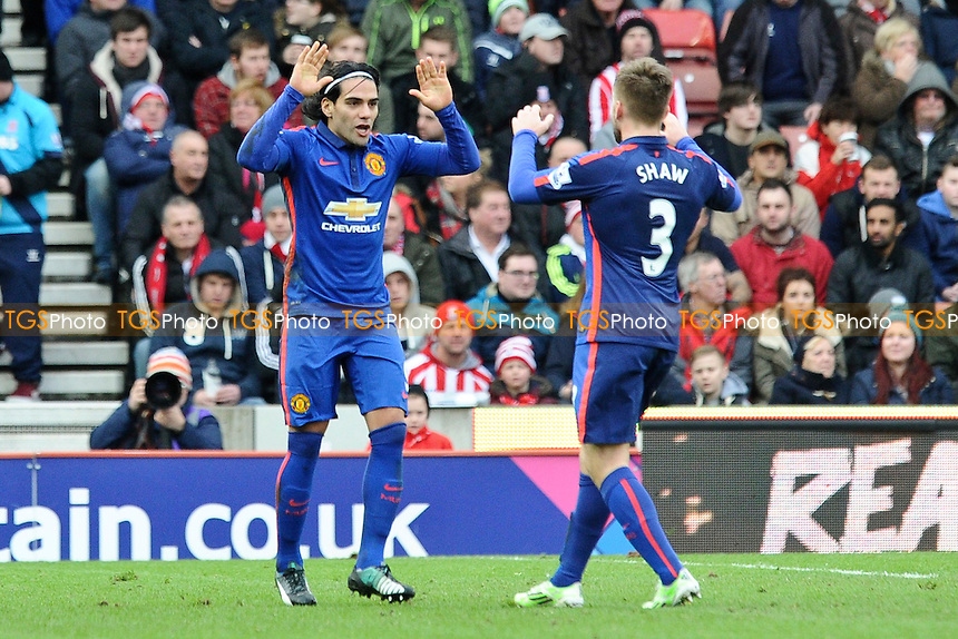 Radamel Falcao Garcia of Manchester United celebrates the equaliser - Stoke City vs Manchester United - Barclays Premier League Football at the Britannia Stadium, Stoke-on-Trent - 01/01/15 - MANDATORY CREDIT: Greig Bertram/TGSPHOTO - Self billing applies where appropriate - contact@tgsphoto.co.uk - NO UNPAID USE