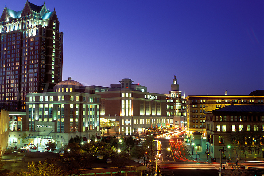 Providence, Rhode Island, RI, Downtown Providence in the evening.